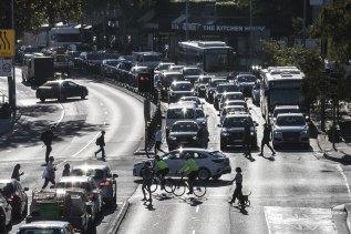 April peak hour traffic along Military Road in Mosman.