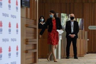 NSW Premier Gladys Berejiklian arriving at Monday's COVID-19 update.