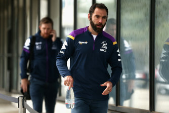 Cameron Smith arrives for a briefing session for players and staff at AAMI Park on Monday.