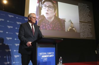 Prime Minister Scott Morrison and Minister for Women Marise Payne on the screen, during the National Summit on Women's Safety.