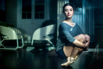 Australian Ballet School student Lilla Harvey on her front porch where she currently trains.