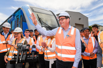 Premier Daniel Andrews and Transport Infrastructure Minister Jacinta Allan unveiling the new CRRC trains in 2018.