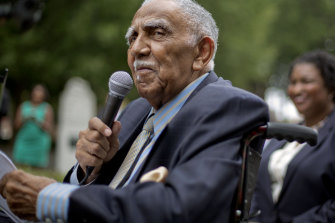 Civil rights leader the Reverend Joseph E. Lowery speaks at an event in Atlanta in 2013.