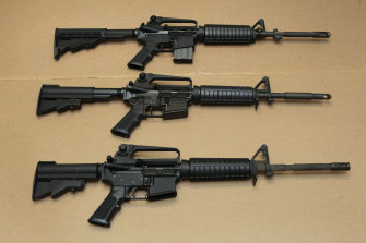 Three variations of the AR-15 rifle praised by the judge who overturned the Californian assault-weapons ban.