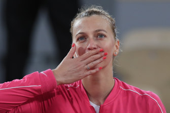 Petra Kvitova blew kisses to the crowd after advancing through to the quarter-finals.