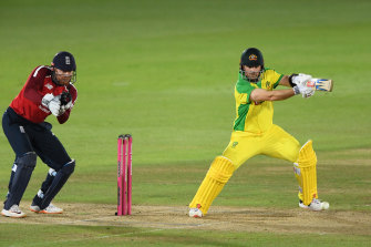 Aaron Finch gets one past English 'keeper Jonny Bairstow en route to his 39 off 26 balls.