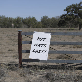 A sign  near Walgett asking voters to put the National Party last.