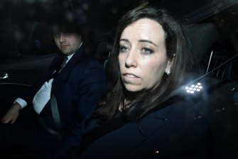 Kaila Murnain leaves the NSW ICAC inquiry into allegations concerning political donations.
