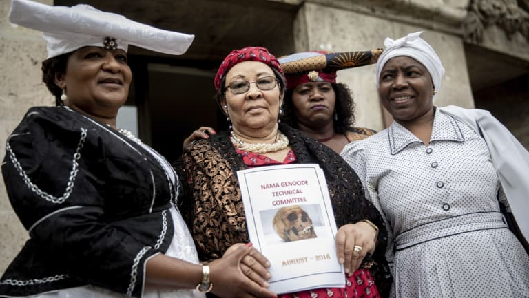 a delegation of Ovaherero and Nama from Namibia, Esther Utjiua Muinjangue, left, chairwoman of the Ovaherero Genocide Foundation, Ida Hoffmann, second from left, member of parliament and chairwoman of the Nama Genocide Technical Committee in Namibia in Berlin in August.