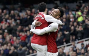Henrikh Mkhitaryan and Emerick Aubameyang celebrate Mkhitaryan's goal at the Emirates.
