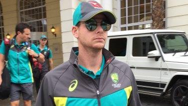 Under pressure: Australian captain Steve Smith leaves a hotel in Cape Town.