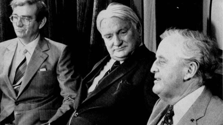 Then-primary industries minister Mike Ahern (left), with Sir Joh (right) and his deputy Vic Sullivan in 1980.