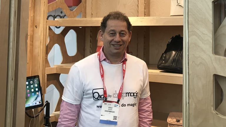 DeepMagic co-founder Davi Geiger with its automated mini shop.