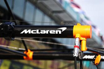 McLaren pitstop equipment is pictured in Melbourne yesterday.