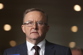 Opposition Leader Anthony Albanese during a press conference on industrial relations and the gig economy, at Parliament House in Canberra on  Thursday 25 February 2021. fedpol Photo: