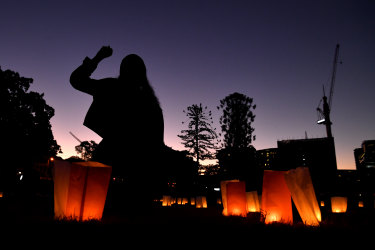 A candlelight vigil in Musgrave Park, Brisbane. held as a protest against the deaths in custody of Aboriginal and Torres Strait Islander people.
