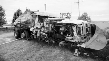 The scene of a fatal collision between a passenger bus and semi-trailer near Grafton, October 1989.