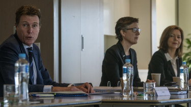 Industrial Relations Minister Christian Porter with the ACTU's Sally McManus and Michele O'Neil at a roundtable with employer groups to map-out IR reform.