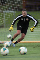 Daniel Margush in action during a Perth Glory A-League training session.