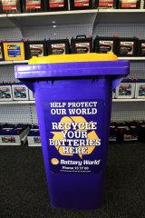 A battery recycling bin at Battery World. Blacktown.