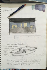 Sketches and maquettes done by Zoe Atkinson for the stage sets of Cloudstreet.
