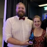 Hamish and Emma, pictured here after a joint win at the WA Media Awards, make a great team - but their methods are very different.