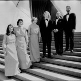In 1973 women choristers were expected to sew their own new electric blue maxi dresses. From left,  Lesley Stephenson, Shirley Williams, Ruth Jurd, David Freeman, Leonard Pitchard and John Willis.