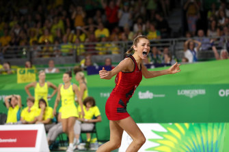 England's Helen Housby celebrates the winning goal in the 2018 Commonwealth Games gold medal match.