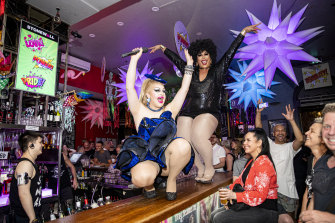 Drag queens Coco Jumbo and Hannah Conda take to the bar at Stonewall on Oxford Street as the venue throws a party to celebrate the end of lockout laws.