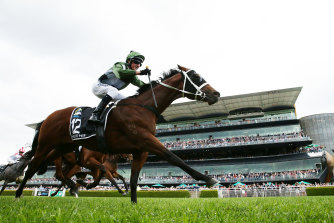 Yes Yes Yes takes The Everest in front of a full Randwick grandstand.