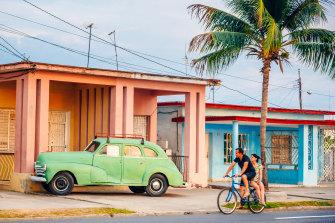 An old American car parked on a street of Havana, Cuba.