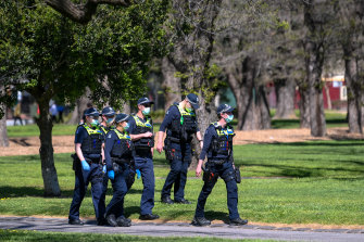 Police patrolling last month's demonstrations against mandatory vaccines.