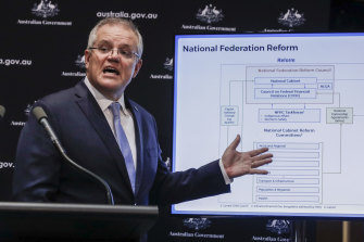 Prime Minister Scott Morrison addresses the media during a press conference on Friday, May 29.