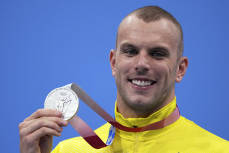 Kyle Chalmers with his 100m freestyle silver medal.
