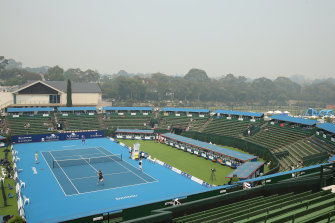 A view of Kooyong on Tuesday, as smoke blanketed Melbourne.