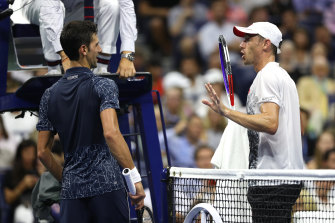Australia's John Millman, right, doesn't believe it should have taken the COVID-19 crisis for Novak Djokovic and the rest of tennis' elite to consider inequality in the game.