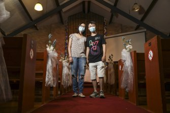 Soon to be newlyweds, Zishan Zeng and George Yang at the Christian Assembly of Sydney in Roseville during their wedding rehearsal on Friday,