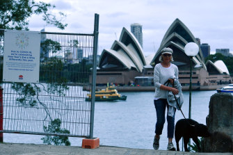 """A dog walker at Milsons Point. The Premier says managing the crisis is a balancing act: """"How can we keep a COVID-safe existence whilst keeping the economy open?"""""""
