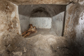 Archaeologists in Pompeii have discovered a remarkably well-preserved skeleton during excavations.