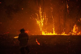 A firefighter battles an ember attack as a bushfire impacts a property in Mangrove Mountain.