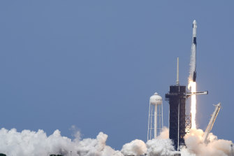 A SpaceX Falcon 9, with NASA astronauts Doug Hurley and Bob Behnken in the Crew Dragon capsule, lifts off from Pad 39-A at the Kennedy Space Centre in Cape Canaveral.