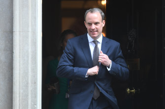 British Foreign Secretary Dominic Raab  leaves 10 Downing Street on Thursday.