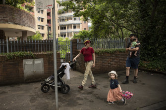 Maggie Korenblium. Al Turnbull and their young children Esme and Hamish outside their Pyrmont apartment building.