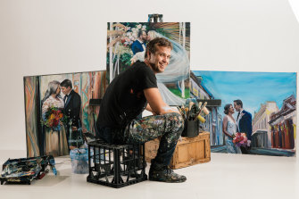 "Jacob ""Shakey"" Butler and his paintings: his work doubles as performance art."