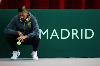 Nick Kyrgios during a Davis Cup tie in Spain last year.