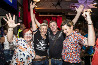 Christine Forster, right, is pictured with her wife Virgina Flitcroft, left, and Stonewall nightclub management, Lida Warren and Glen Harris.