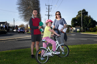 Jemima Tawse with her husband  Daniel and daughter Grace in Neerim South.