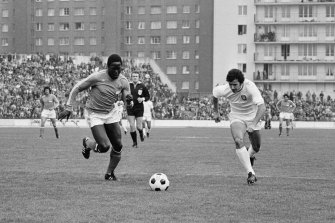 Jean-Pierre Adams (left) during an international friendly between France and Portugal.