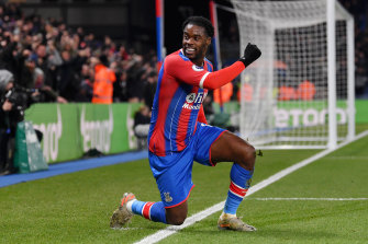 Crystal Palace's Jeffrey Schlupp celebrates scoring the matchwinner against Bournemouth.