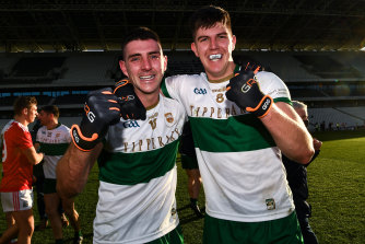 Colin O'Riordan and Steven O'Brien of Tipperary celebrate after the Munster GAA Football Senior Championship Final match between Cork and Tipperary at Páirc Uí Chaoimh in Cork.